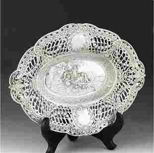 20th century German Baroque sterling silver dried fruit
