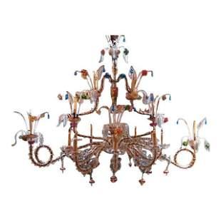 Antique Venetian Glass Rezzonico Style Chandelier