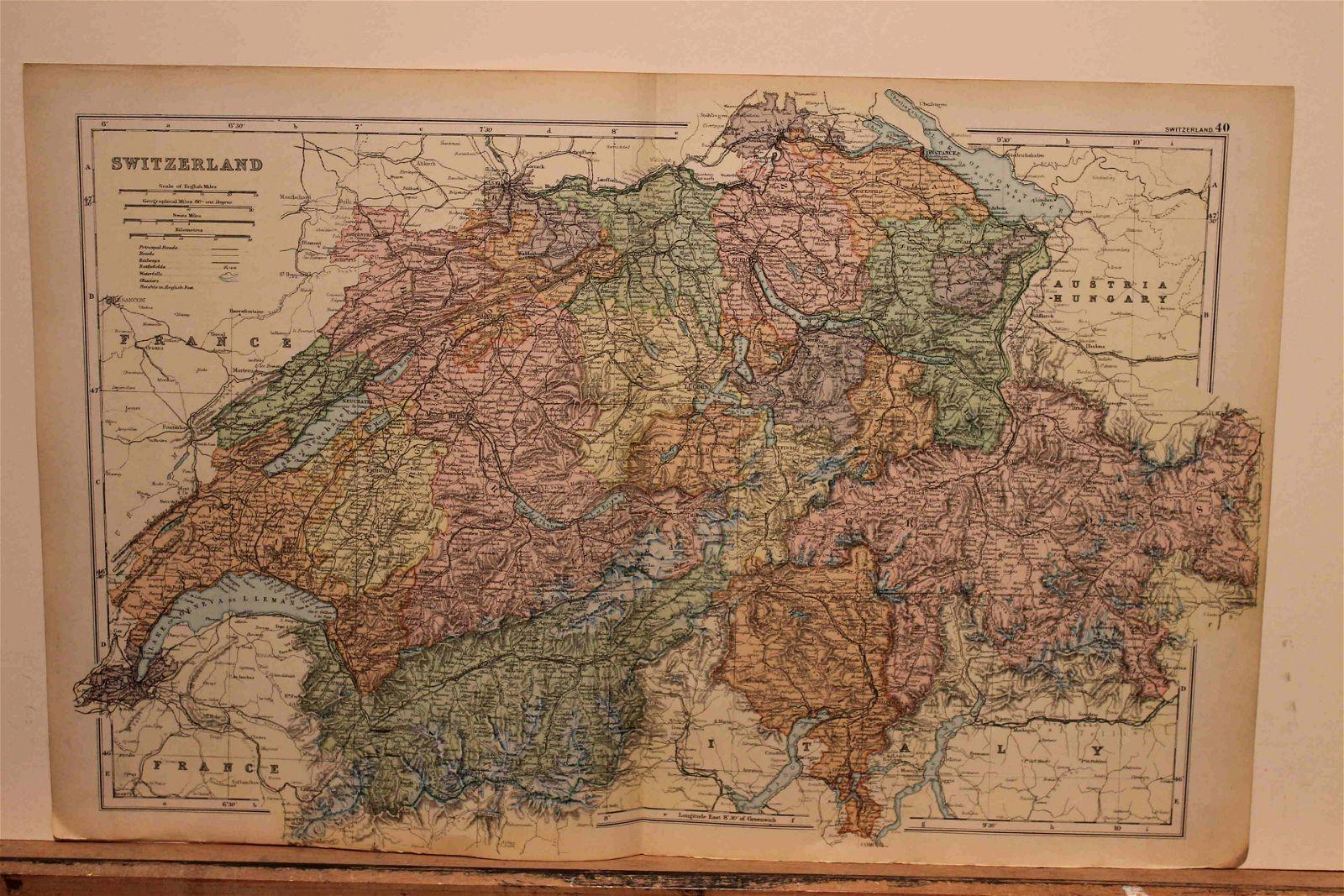 1882 Map of Switzerland