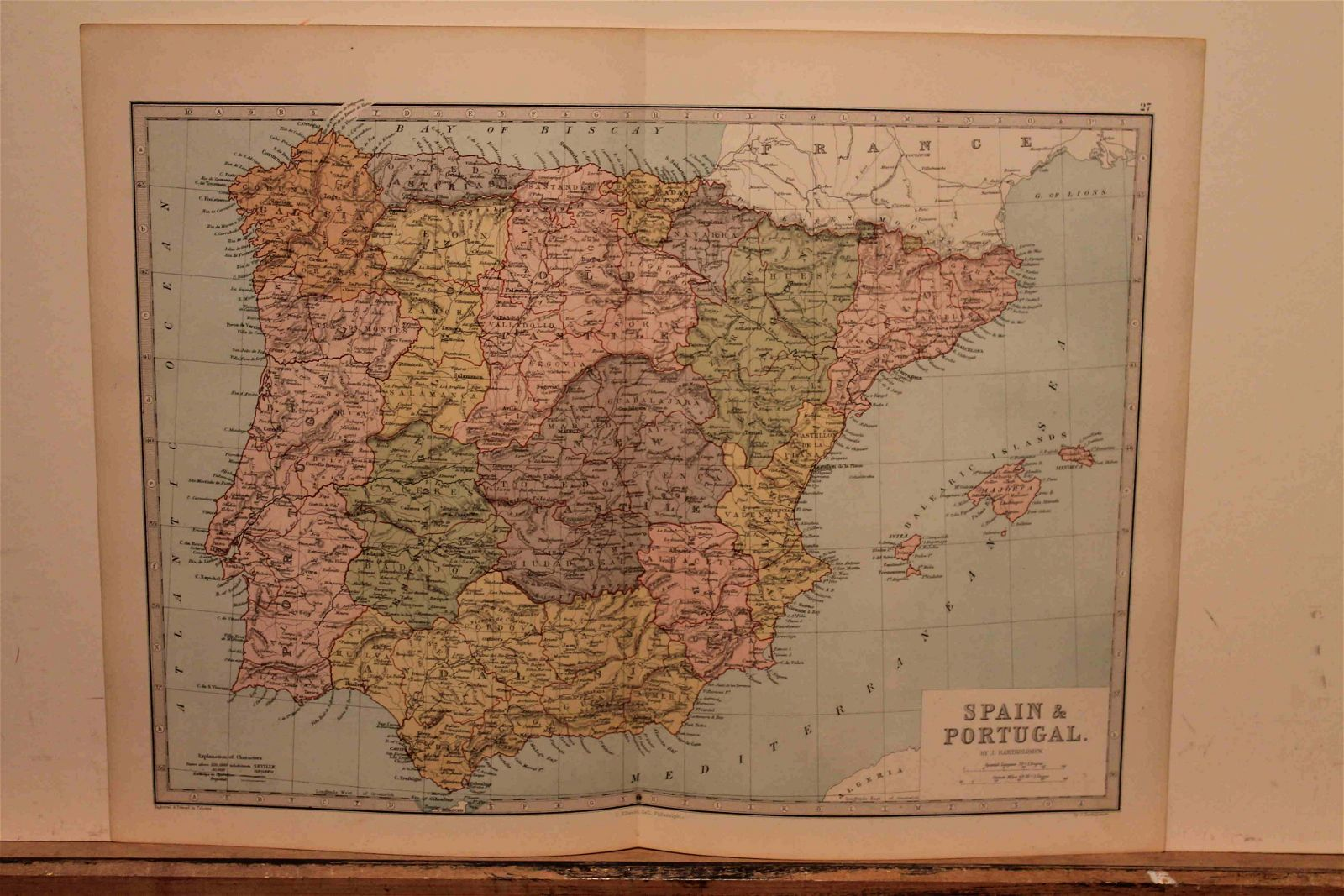 1873 Map of Spain and Portugal