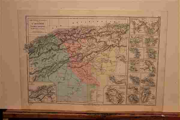 1862 Map of Algeria and French colonial possessions