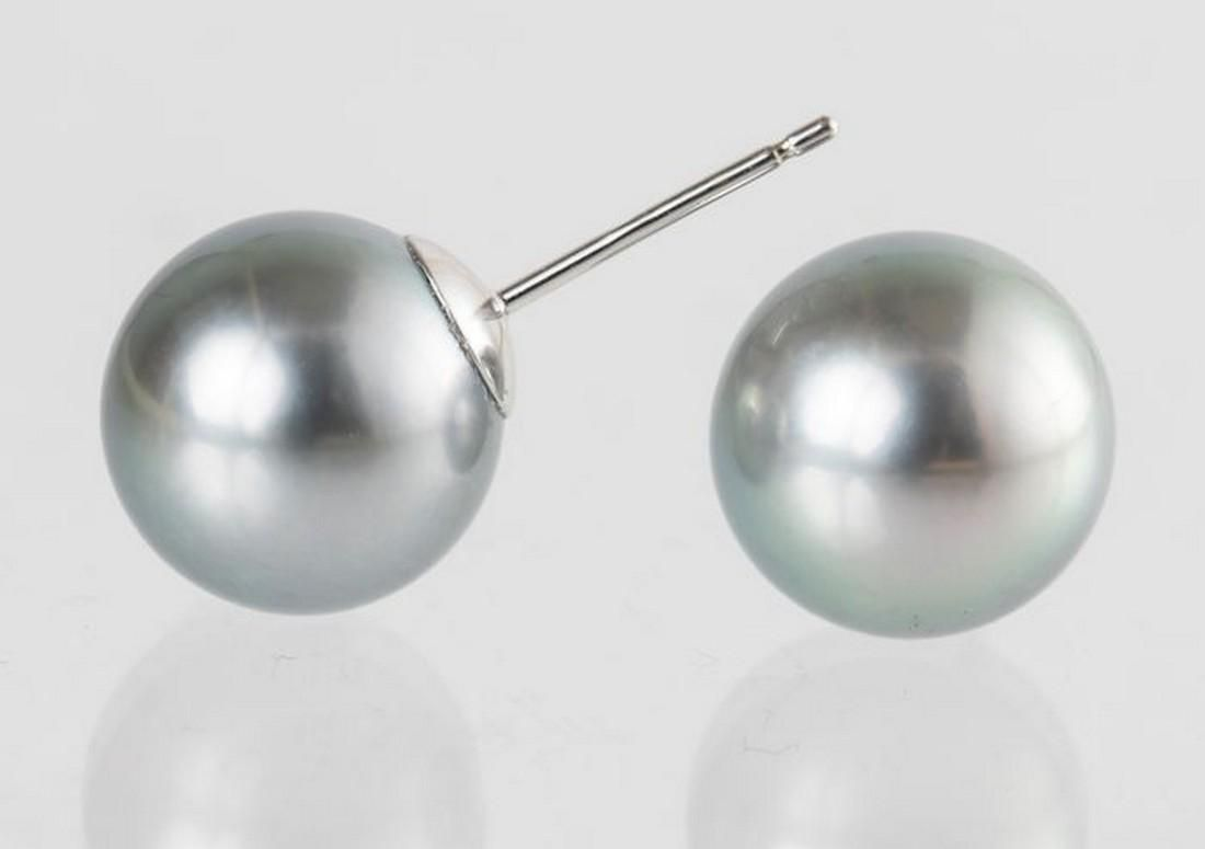 10x11mm Silvery Peacock Tahitian Pearls - 14 kt. White