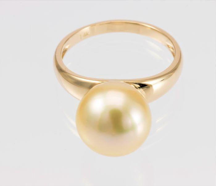 x12mm Golden South Sea Pearl - 14 karaat Geel goud -