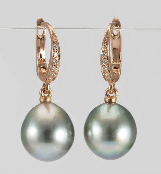 10x11mm Tahitian Pearl Drops - 14 karaat Rosé goud -