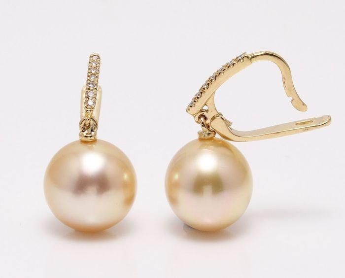 14 kt. Yellow Gold- 11x12mm Golden South Sea Pearls -