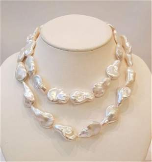 925 Silver - 16x17mm Freshwater Pearls - Necklace