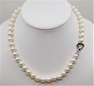 925 Silver - 9x10mm Lustrous Freshwater Pearls -