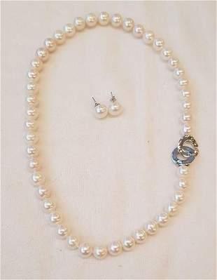 925 Silver - 9x10mm Freshwater Pearls - Earrings,
