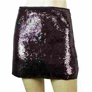Theory Purple Fully Sequined Mini Party Clubwear Skirt
