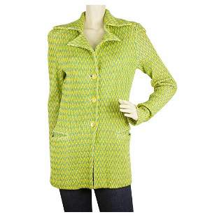 MISSONI Green Yellow Zig Zag Button front Jacket