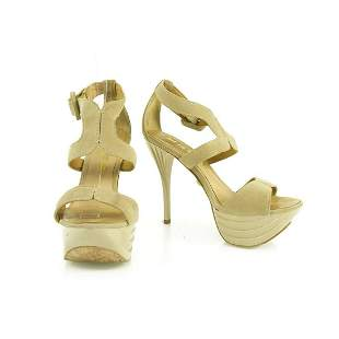 L.A.M.B. LAMB Beige Suede Platform Sandals Shiny