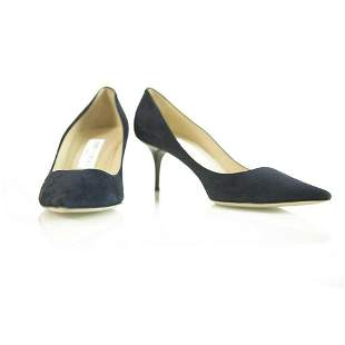 Jimmy Choo Dark Blue Suede Leather Pointy Toe Pumps