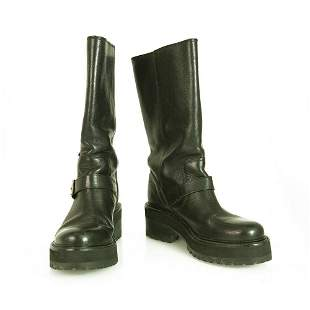 Dolce & Gabbana Black Leather Track Soles Buckles Boots