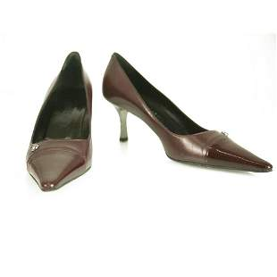 CHANEL Burgundy Leather with Patent Leather Cap Toe