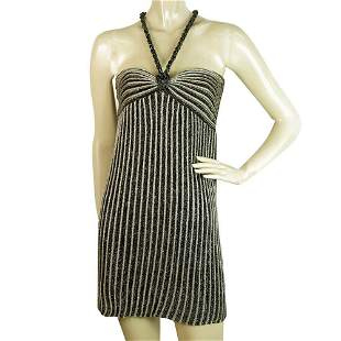Missoni Black Gray Metallic Knitted Sleeveless Striped