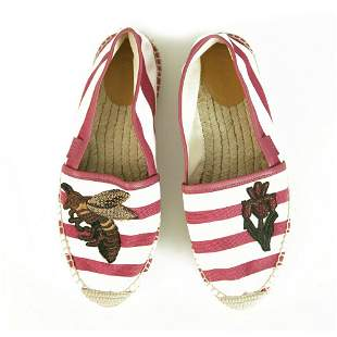 Gucci Striped Canvas Bee & Flower Pink White Flat Shoes