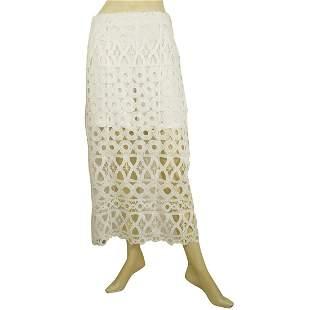 Dondup White Lace Calf Length Summer Skirt w. inner