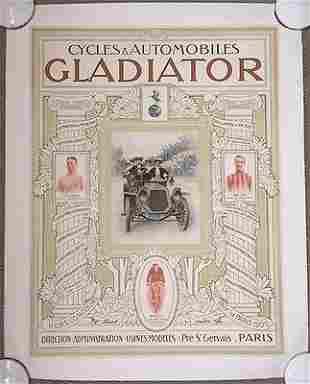 GLADIATOR - ORIGINAL 1905 FRENCH ADVERTISING LB POSTER