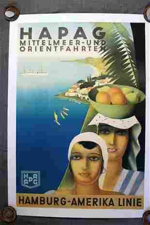 "Hapag - Travel Hamburg Amerika Linie (1934) 30"" x 44"""