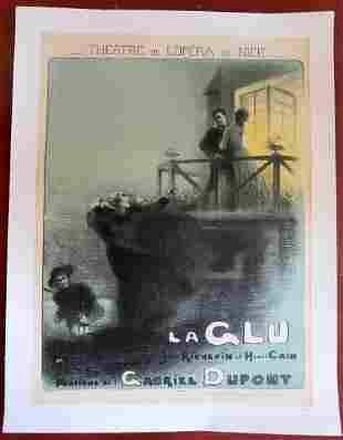 LA GLU - ORIGINAL 1910 FRENCH THEATRE LB POSTER -