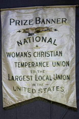 "Prize Banner - Woman's Christian Union (c.1900's) 29"" x"