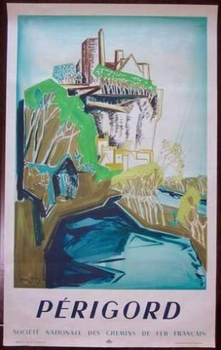 PERIGORD - ORIGINAL 1948 FRENCH TRAVEL POSTER -