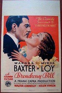 BROADWAY BILL - 1934 WINDOW CARD WARNER BAXTER & MYRNA