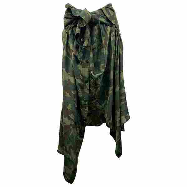 Faith Connexion Green Camouflage Silk shirt Skirt Size