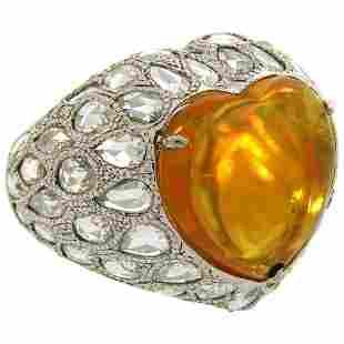 5.51 Carat Australian Opal Diamond White Gold Ring