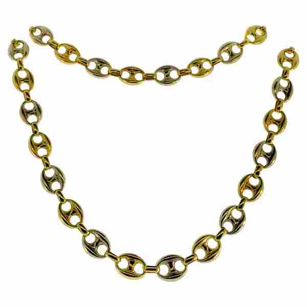 UnoAErre Two-Tone Gold Mariner Puffed Chain Necklace