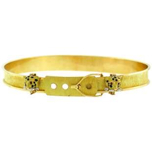 Cartier Panther Gold Buckle Choker Necklace Diamond