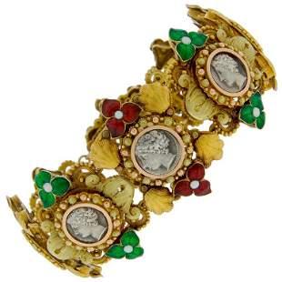 Silver Coin Enamel Yellow Gold Bracelet, French, 1950s