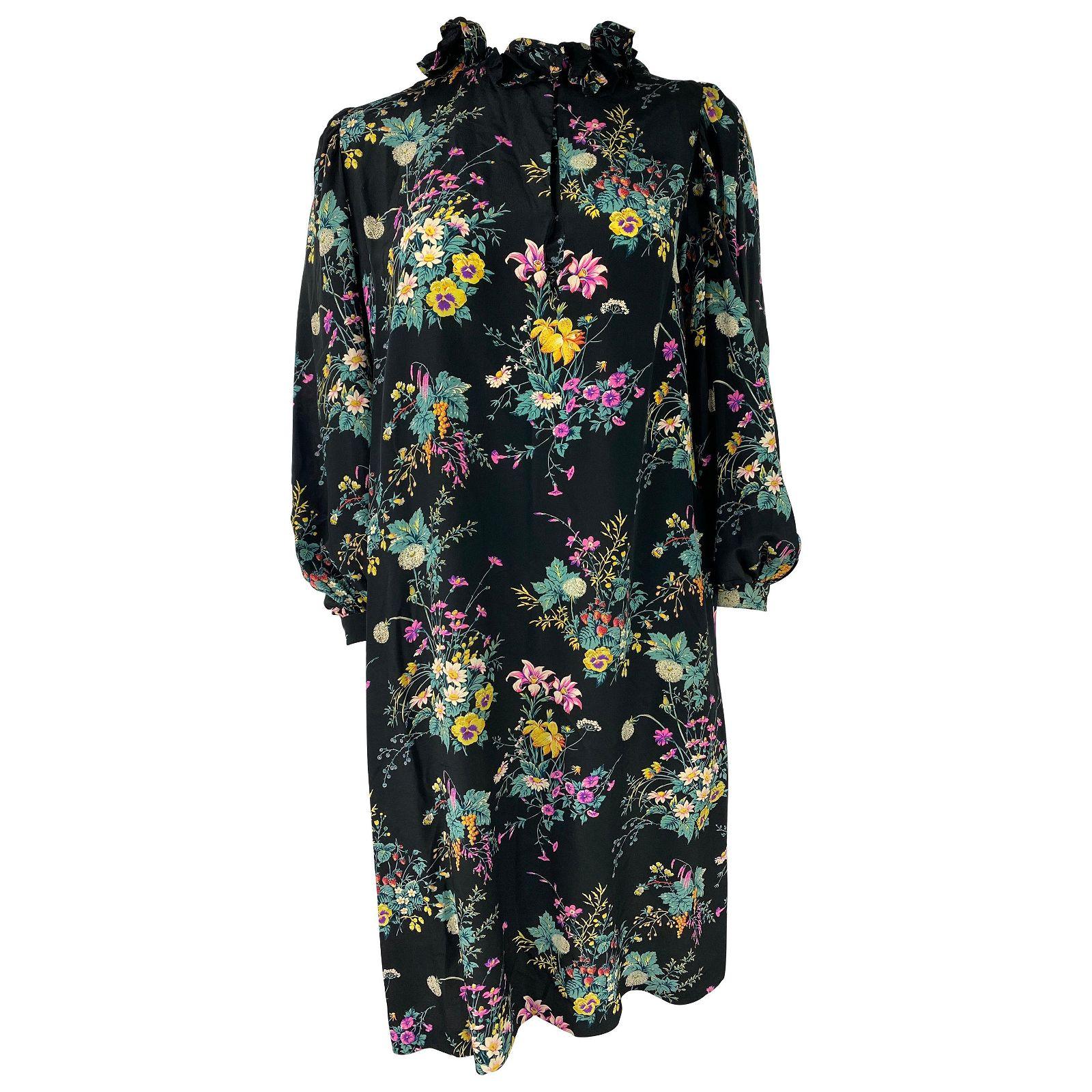 Hanae Mori Paris Black and Multi Colored Silk Mini