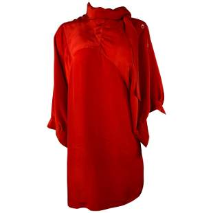 Maison Martin Margiela Paris Red Silk Mini Dress, Size