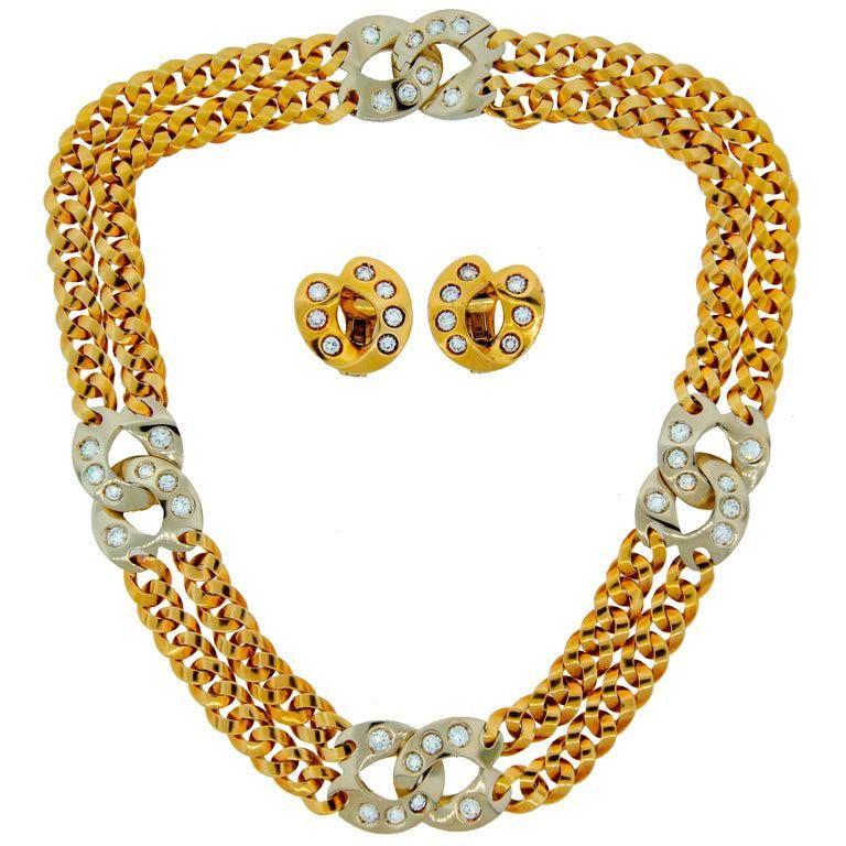 Pomellato Diamond 2-tone Gold Double Chain Necklace and