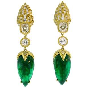 Emerald Diamond Gold Dangle Drop Earrings