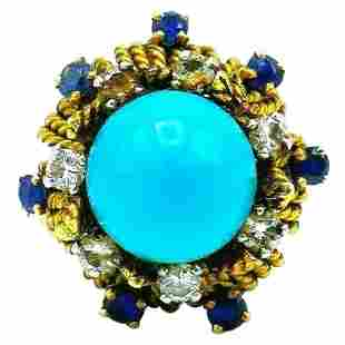 Antique French Yellow Gold Turquoise Sapphire Diamond