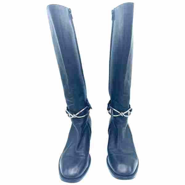 Balenciaga Black Leather Boots, Size 39