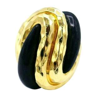 Henry Dunay Vintage Yellow Gold Wood Ring