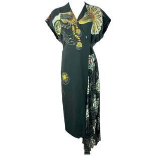 Dries Van Noten Black & Multicolor Wrap Maxi Dress,