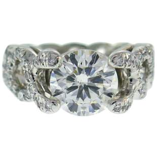 Verdura Diamond Platinum Criss Cross Ring 2.05 Carat