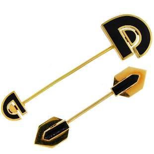 Pair of David Webb Enamel Yellow Gold Jabot Pin