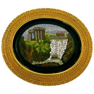 Victorian Micromosaics Yellow Gold Pin Brooch Clip
