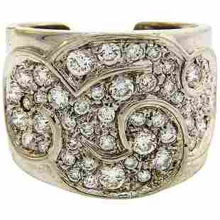 Marina B Diamond White Gold Band Ring, 1980s