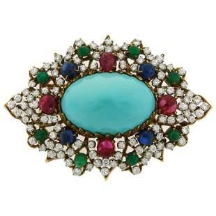 1970s Turquoise Diamond Gem Stone Gold Brooch Pin