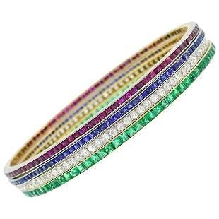 Lacloche Frères Gemstone Gold Bangle Bracelet Set of