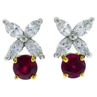 Tiffany & Co. Ruby Diamond Stud Earrings in Platinum