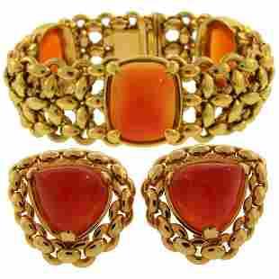 1980s Hermes Carnelian Yellow Gold Earrings and