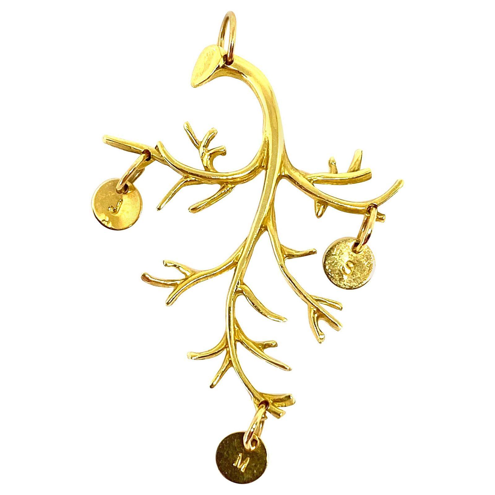 Jennifer Fisher 18k Yellow Gold Branch Pendant w/ J M S