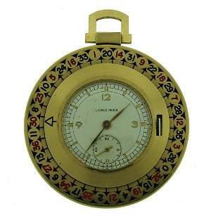 Longines Yellow Gold Enamel Roulette Pocket Watch Circa